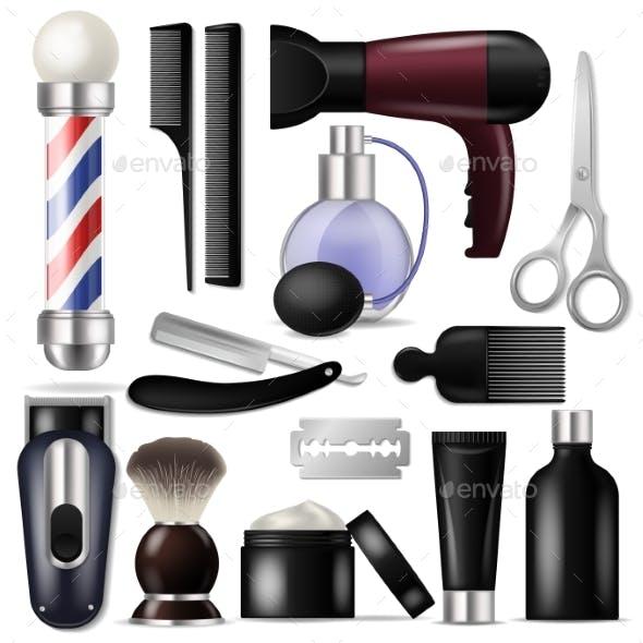 Barber Vector Barbershop Equipment or Hairdresser