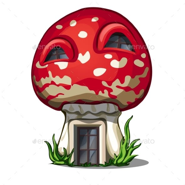 Fairy House in the Shape of a Fly Agaric Isolated