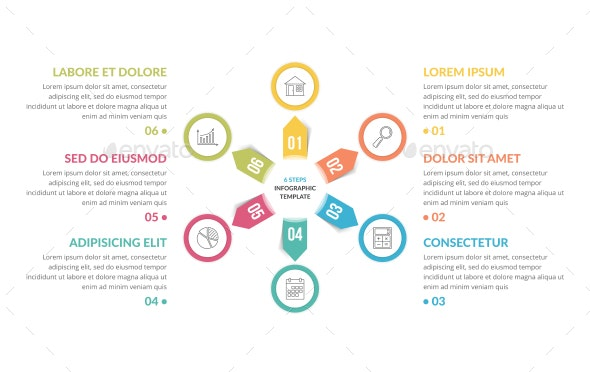 Circle Infographics with Six Elements - Infographics