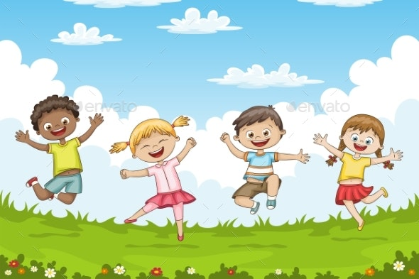 Children Jumping on a Meadow - People Characters