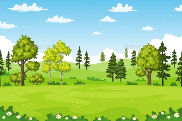 Summer Landscapes with Trees - Flowers & Plants Nature