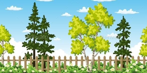 Seamless Summer Landscape With Trees - Flowers & Plants Nature