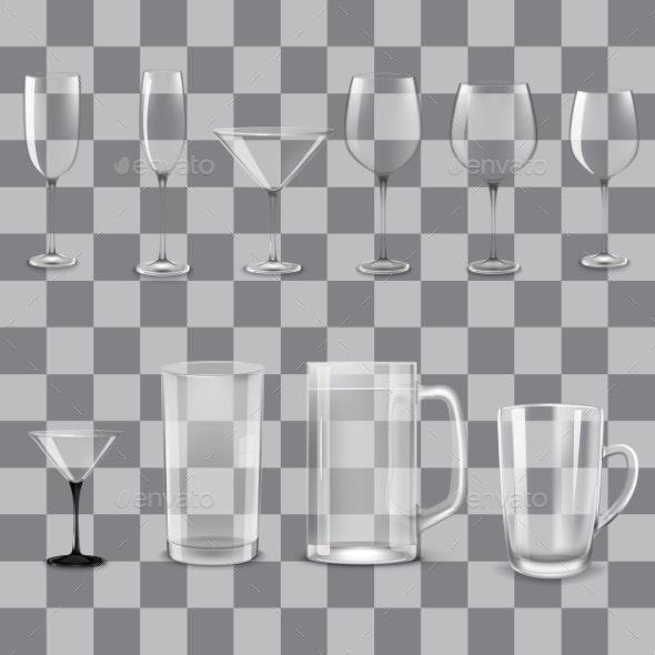 Transparent Empty Glasses Set - Food Objects