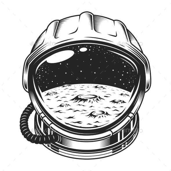 Vintage Space Helmet Concept - Miscellaneous Vectors