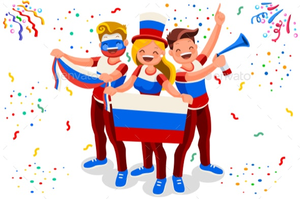 Russian Football Team Flag - People Characters