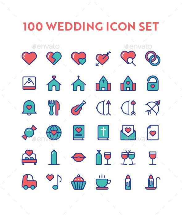 100 Wedding Icon Set - Icons