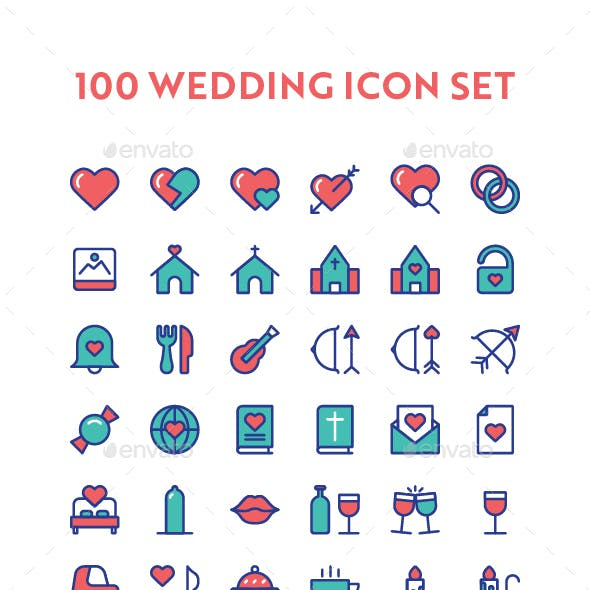 100 Wedding Icon Set
