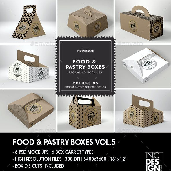 Food Pastry Boxes Vol.5: Kraft Carrier Boxes | Take Out Packaging Mock Ups