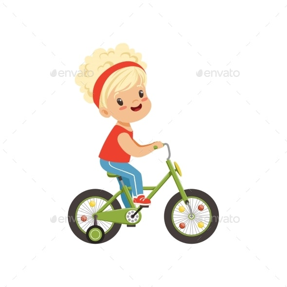 Girl Riding Bike - People Characters