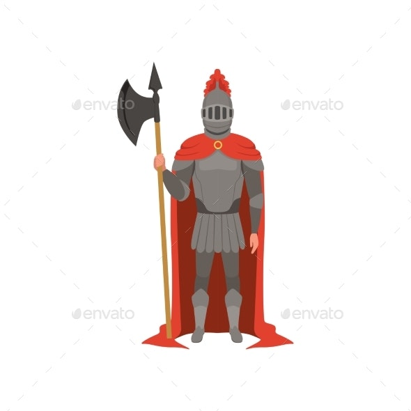 Medieval Armed Knight Character in Red Mantle - People Characters