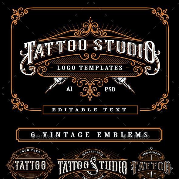 Set of Vintage Tattoo Studio Badges