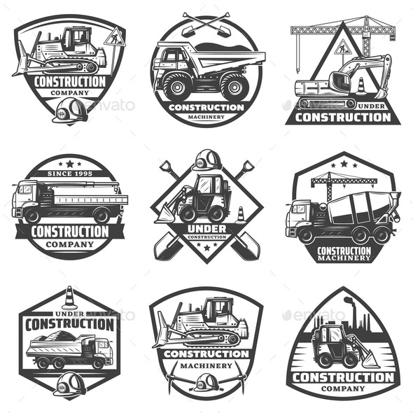 Vintage Monochrome Construction Labels Set - Industries Business