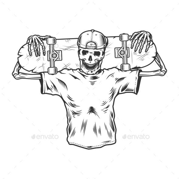 Vintage Monochrome Skeleton Skateboarder - Miscellaneous Vectors