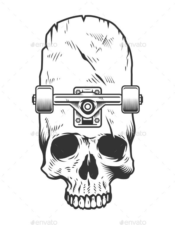 Vintage Monochrome Skateboarding Concept - Decorative Symbols Decorative