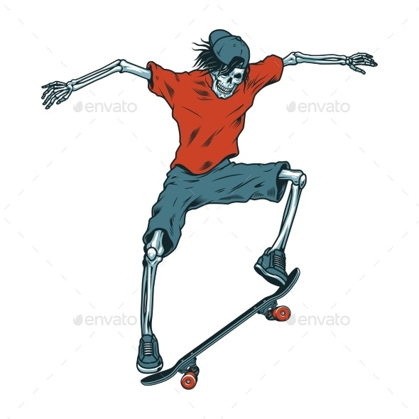 Vintage Colorful Skeleton Skateboarder - Miscellaneous Characters