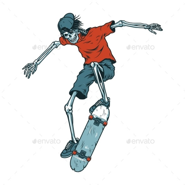 Vintage Colorful Skeleton Skater - Miscellaneous Characters