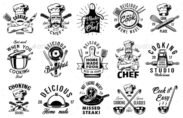 Set of Cooking Emblems - Food Objects