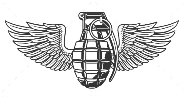 Hand Grenade in Black White Colors with Wing - Miscellaneous Vectors