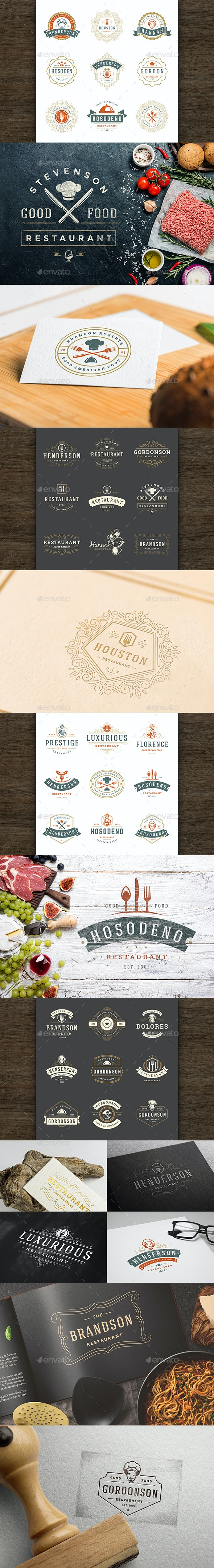 36 Restaurant Logos and Badges - Badges & Stickers Web Elements