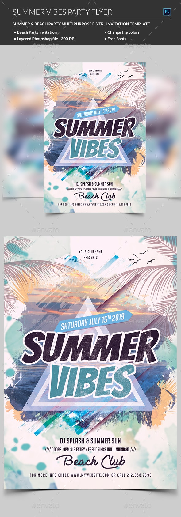 Summer Vibes Dj Flyer - Clubs & Parties Events