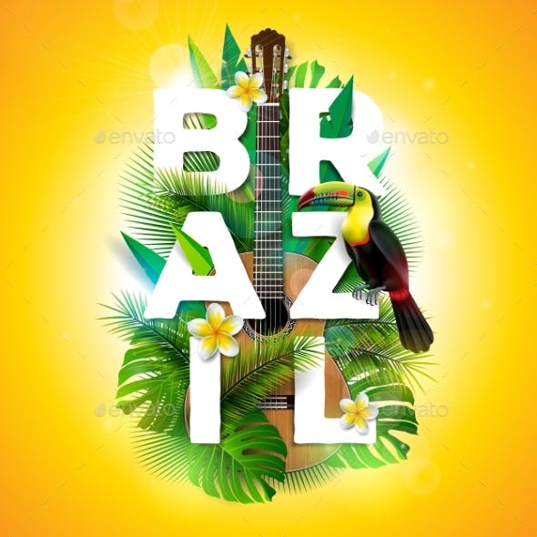 Vector Brazil Typography Illustration with Toucan