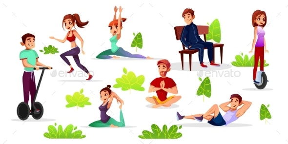 Vector Cartoon People Leisure Activities in Park - Sports/Activity Conceptual