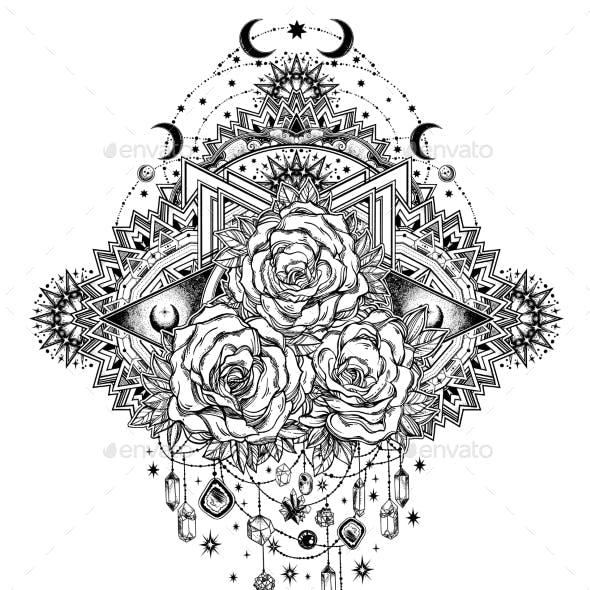 Rose Flowers in Mandala of Moons