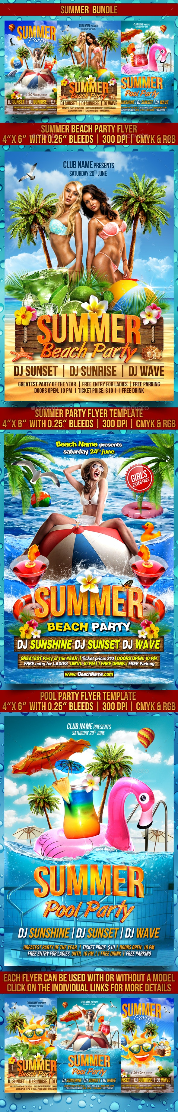 Summer Flyer Bundle V2 - Clubs & Parties Events