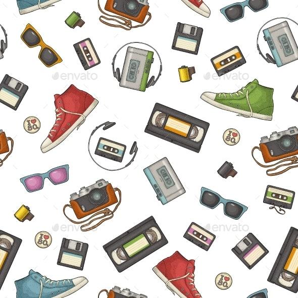 Seamless Pattern of Retro Technology Objects - Patterns Decorative