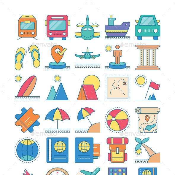 Travel and Holiday Icon Set