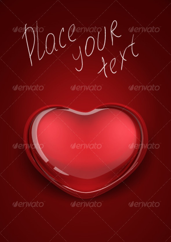 red glass heart - Valentines Seasons/Holidays