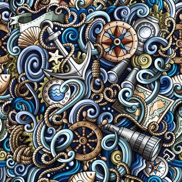 Cartoon Hand-Drawn Nautical Doodles Seamless - Backgrounds Decorative