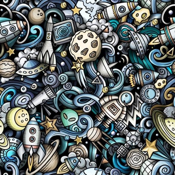 Cartoon Doodles Space Seamless Pattern - Backgrounds Decorative