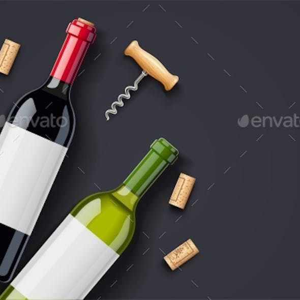 Red Wine Bottle, Cork and Corkscrew Concept