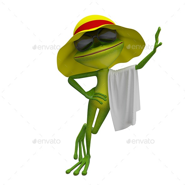 3D Illustration of the Frog in Yellow Panama with Towel - Characters 3D Renders
