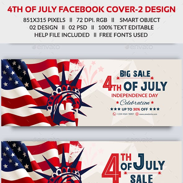 4th of July Facebook Cover - 2 Design- Image Included