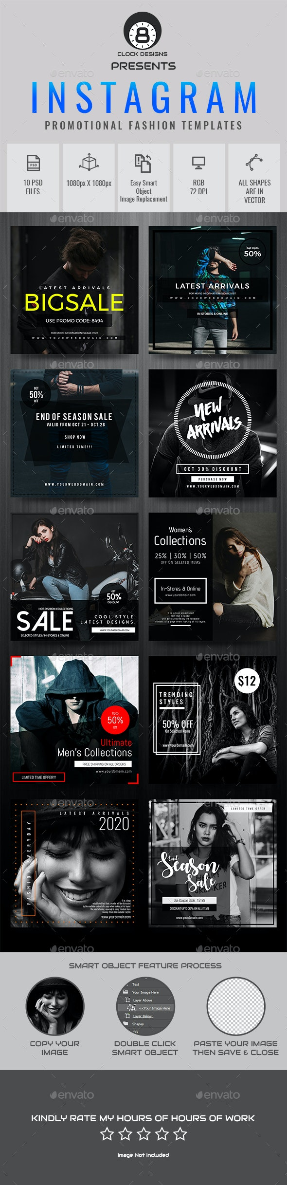 Instagram Fashion Templates ( 10 in 1 ) - Social Media Web Elements