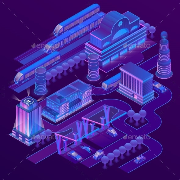Vector Isometric City in Ultra Violet Colors - Buildings Objects