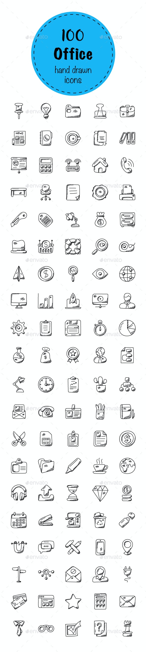 100 Office Doodle Icons - Icons