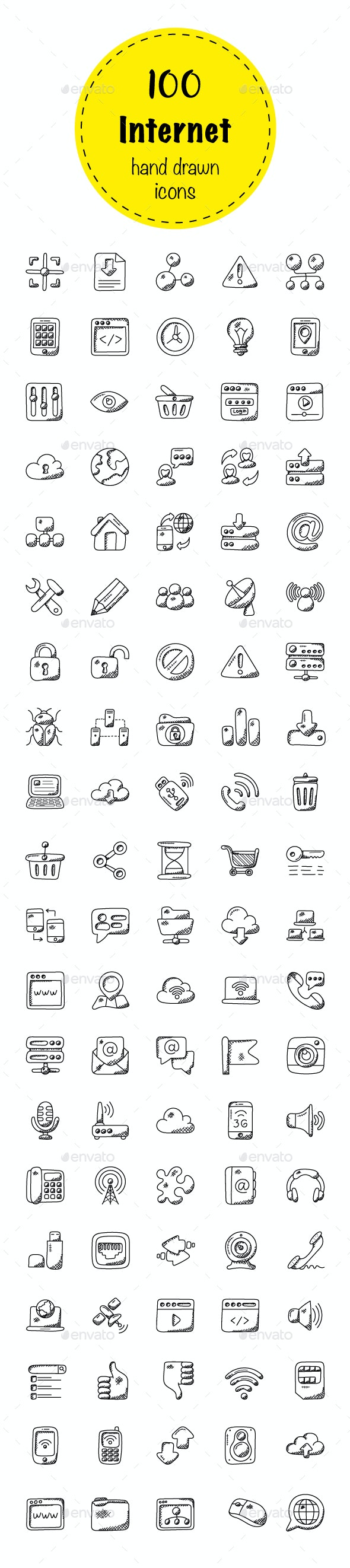100 Internet Doodle Icons - Icons