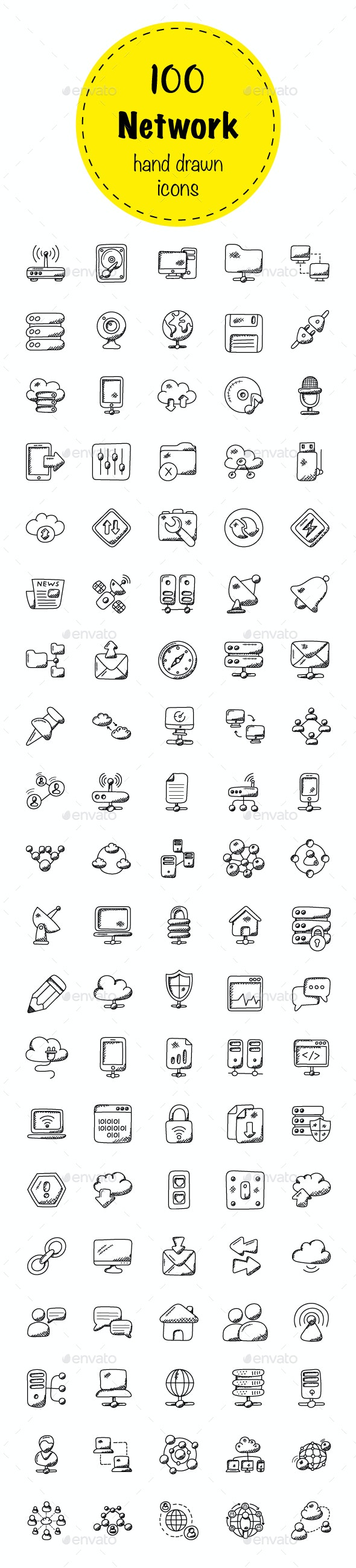 100 Network Doodle Icons - Icons
