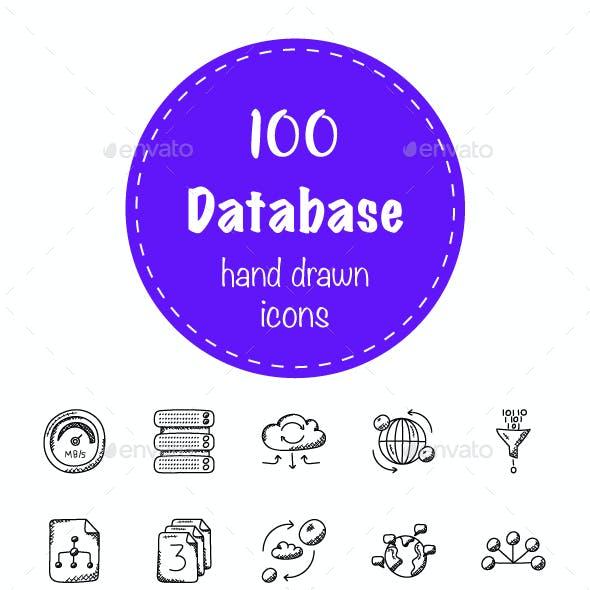 100 Database and Storage Doodle Icons