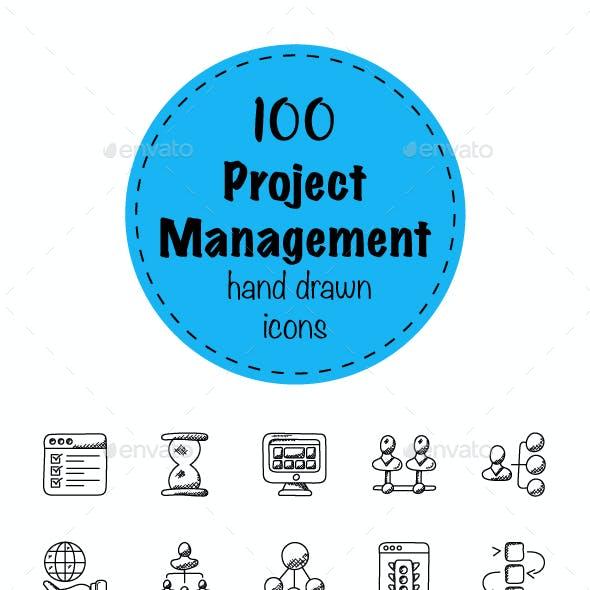 100 Project Management Doodle Icons