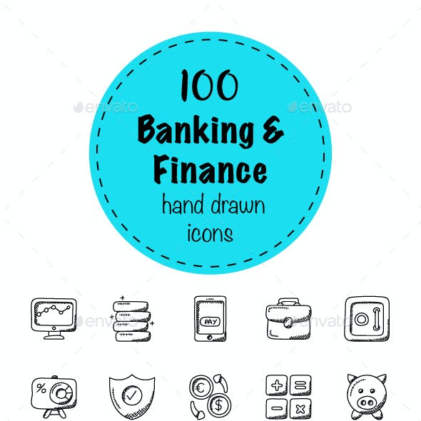 100 Banking and Finance Doodle Icons