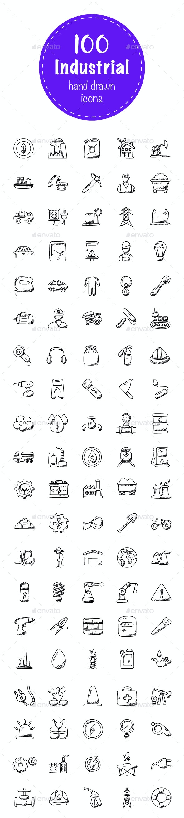 100 Industrial Doodle Icons - Icons
