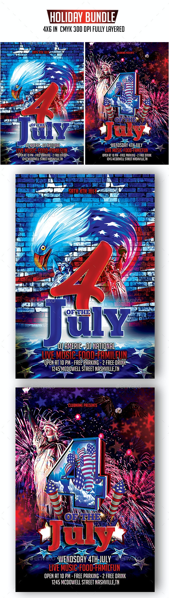 4th Of July Flyer Bundle - Holidays Events