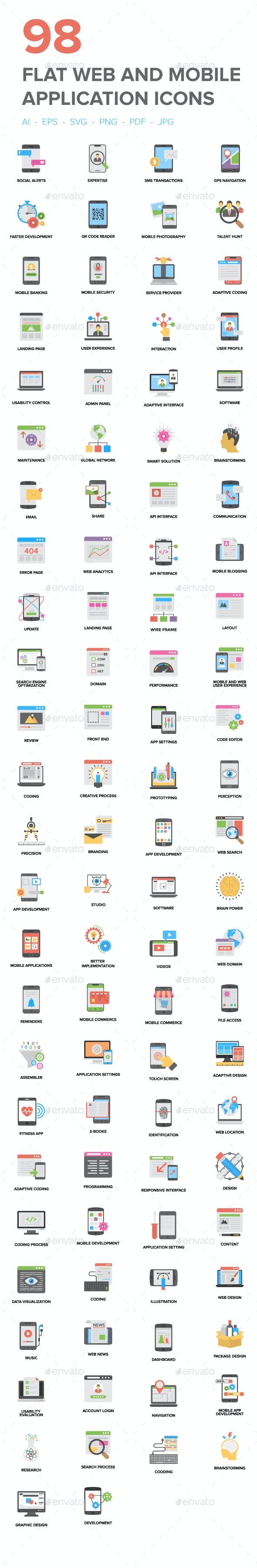 98 Flat Web and Mobile App Icons - Icons