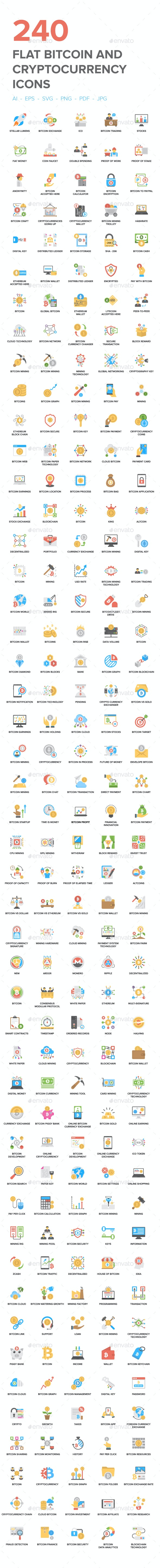 240 Bitcoin and Cryptocurrency Icon - Icons
