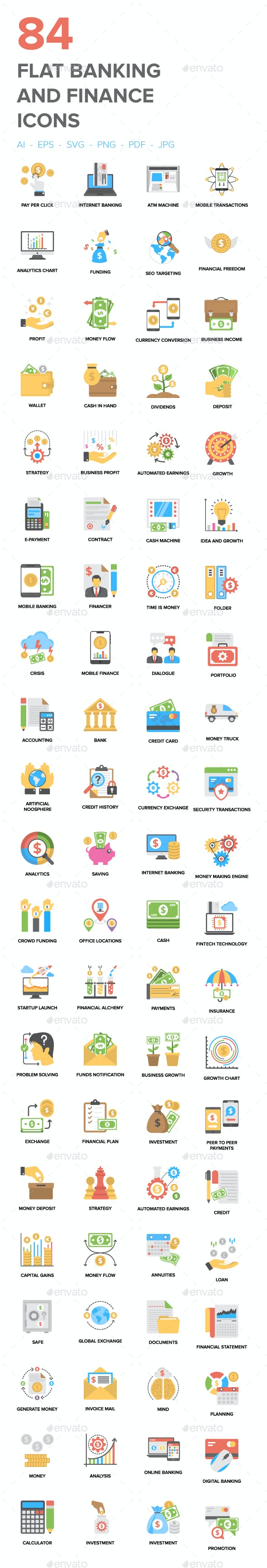 84 Flat Banking and Finance Icons - Icons