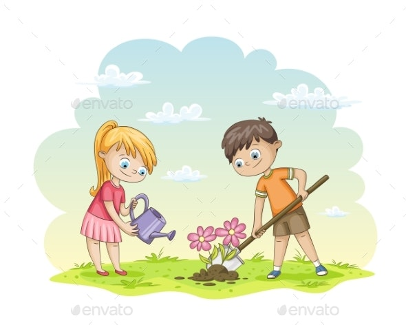 Two Children Planting Flowers - People Characters